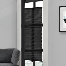 [neu.haus] Taiteverho / pliseerattu verho - 60 x 100 cm - musta - aurinkosuojaverho - pimennysverho - ilman porausta