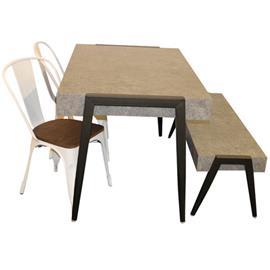 006 009 494 Pöytä sementtiä muistuttavasta materiaalista + penkki samasta materiaalista + 2 peltistä tuolia