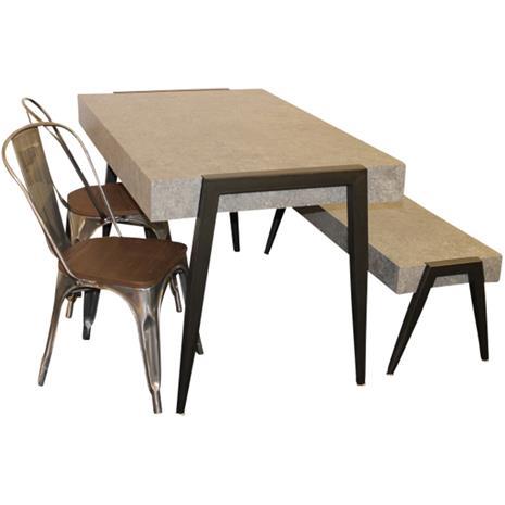 006 009 498 Pöytä sementtiä muistuttavasta materiaalista + penkki samasta materiaalista + 2 peltistä tuolia
