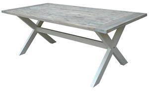 541 Jonas pöytä, jossa on X-runko ja viilutettu tammi