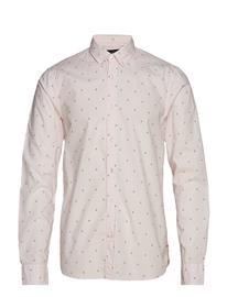 Scotch & Soda Ams Blauw Allover Print Shirt Vaaleanpunainen