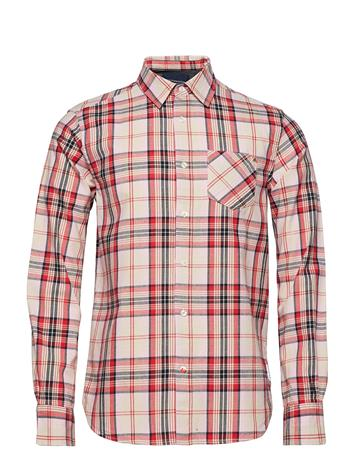 Scotch & Soda Ams Blauw Brushed Cotton Checked Shirt Punainen