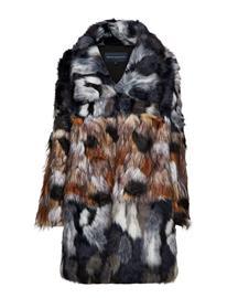 French Connection Golda Faux Fur High Collr Coat Monivärinen/Kuvioitu