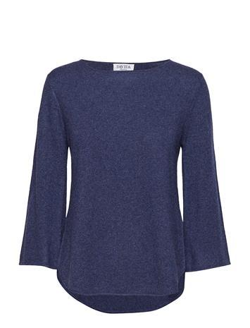 Davida Cashmere Quarter Wide Sleeve Sweater Sininen