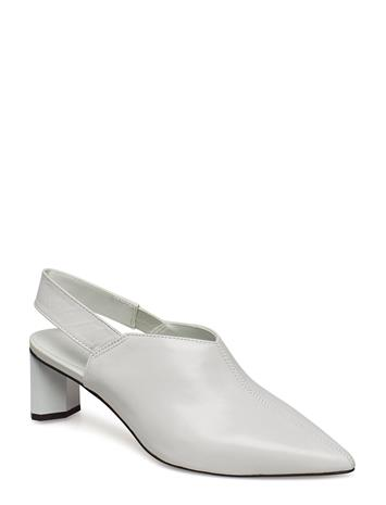 Mango Slingback Leather Shoes Valkoinen