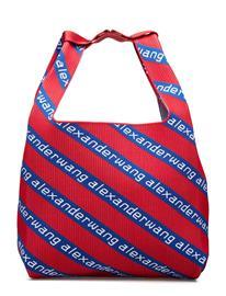 Alexander Wang Knit Jcqd Shopper In Americana Red/Wht/Blu Diagonal Logo Punainen