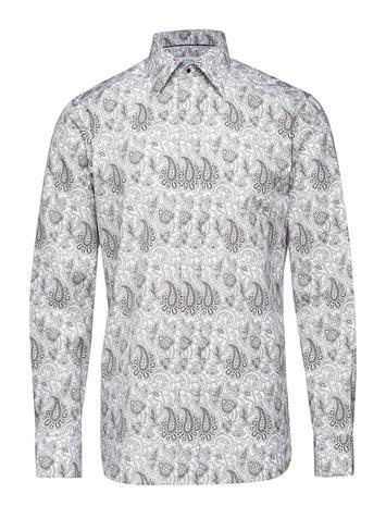Eton White Paisley Evening Shirt Valkoinen