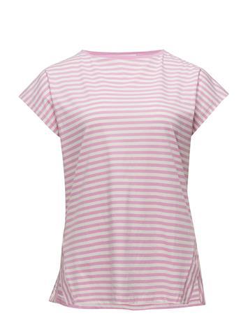 Violeta by Mango Striped Cotton T-Shirt Vaaleanpunainen