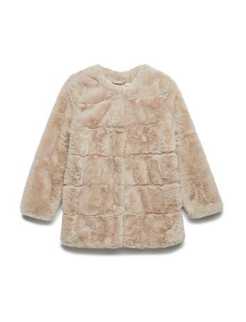 Mango Kids Faux Fur Coat Vaaleanpunainen