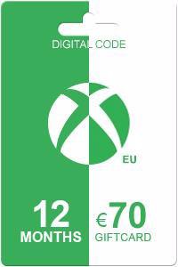 Xbox Live Gold 12 kk + 70 EUR