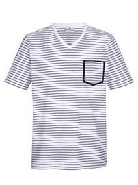"""Boston Park"""" """"Raidallinen T-paita valkoinen/laivastonsininen"""