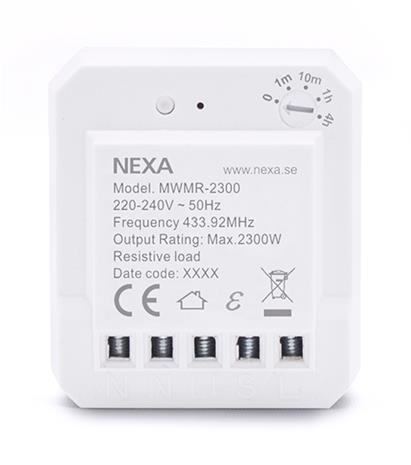 Nexa MWMR-2300, uppoasennettava rasiarele jossa ajastin