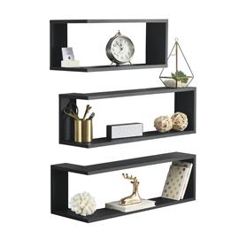 [en.casa]® Kulmaan kiinnitettävä seinähylly kolmella hyllytasolla, MDF-levy, PVC-pinnoite tummanharmaa