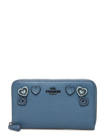 Coach Heart Applique Medium Zip Around Wallet Sininen