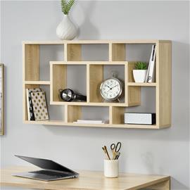[en.casa]® Design seinähylly, puulevy, melamiini 85 x 47,5 x 16 cm sonoma tammi