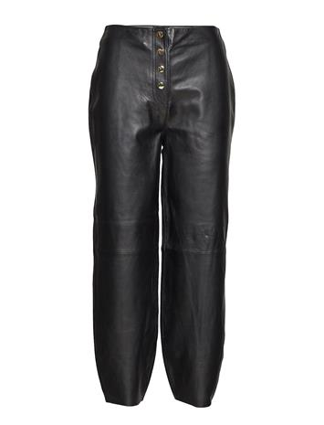 Selected Femme Slfrita Hw Cropped Leather Pant B Musta
