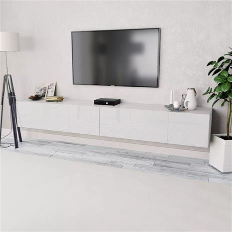 vidaXL TV-taso 2 kpl Lastulevy 120x40x34 cm Korkeakiilto Valkoinen, Laatikostot, hyllyt, kaapit, TV-tasot yms.