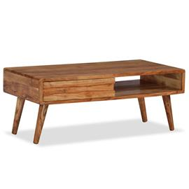 vidaXL Sohvapöytä kaiverretulla vetolaatikolla puu 100x50x40 cm, Sohvapöydät