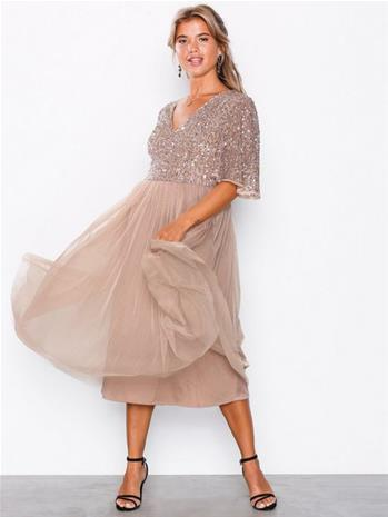 Maya V-Neck Delicate Sequin Midi Dress