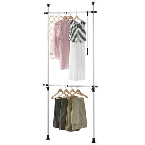 [en.casa]® Teleskooppinen vaatetanko, metalli, muovi 110 - 305 x 75 - 115 cm valkoinen