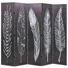 vidaXL Taitettava tilanjakaja höyhenet 200x180 cm musta ja valkoinen