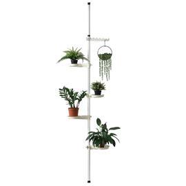 [en.casa]® Säädettävä kukkateline, metalli, muovi 110 - 305 cm valkoinein
