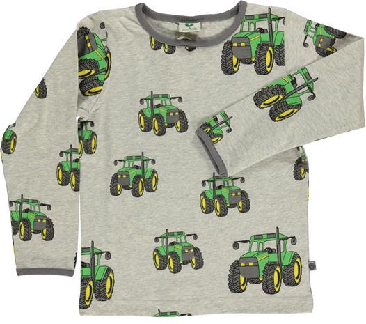 Småfolk Suuri Traktori T-Paita, Light Grey Mix 2-3 vuotta