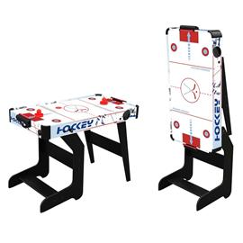 Air hockey table with L graphic