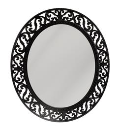 Spegel oval svart mönstrad ram 54 cm