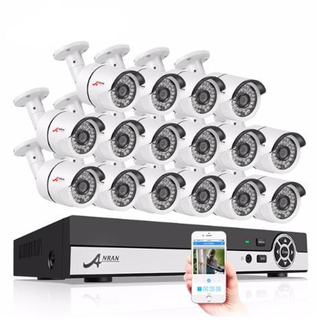 ANRAN övervakningssystem 16 st kameror 720P IP66 4TB
