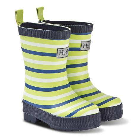 Navy and Lime Stripes Rain Boots20 (UK 3 / US 4)