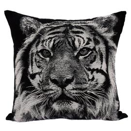 Kudde Tiger svart/vit 45x45 cm