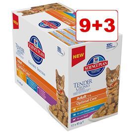 Hill's Science Plan kissanruoka 12 x 85 g: 9 + 3 kaupan päälle! - Young Adult Sterilised Chicken