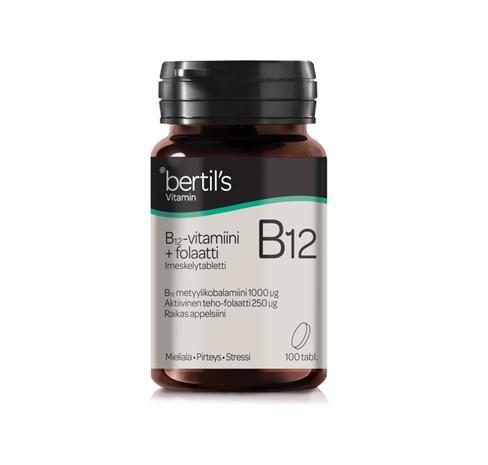 Bertil's B12-vitamiini+Folaatti 100 tabl.