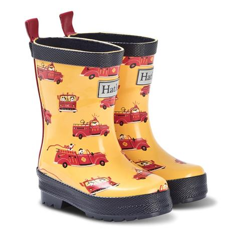 Yellow and Red Vintage Fire Trucks Rain Boots24 (UK 7 / US 8)