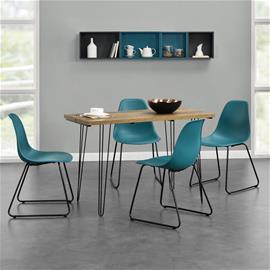 [en.casa]® Design ruokapöytä - puunkuvio + design tuoli 4 kpl / setti - turkoosi - 82 x 46,5 x 56 cm