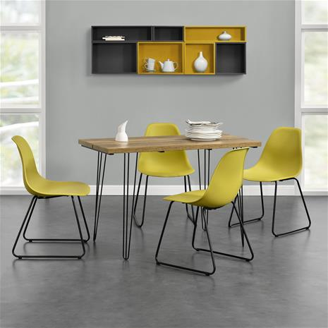 [en.casa]® Design ruokapöytä - puunkuvio + design tuoli 4 kpl / setti - sinapinkeltainen - 82 x 46,5 x 56 cm