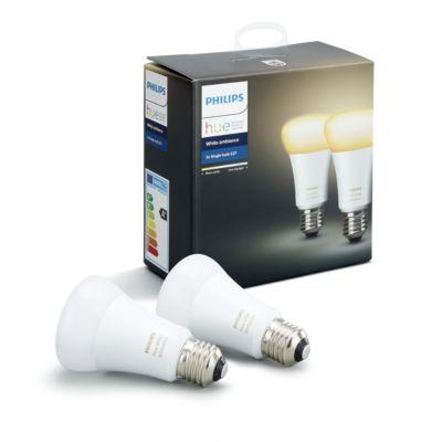 Philips Hue White Ambiance, kaksi älyohjattavaa lamppua E27, 9,5 W