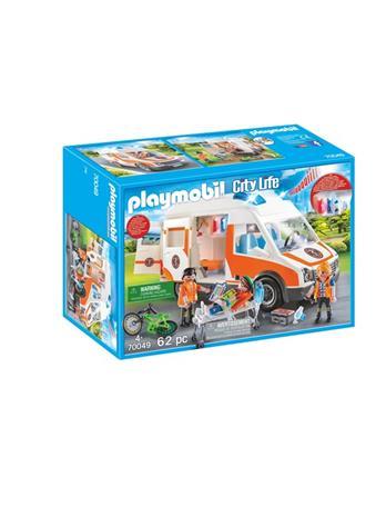 Playmobil City Life 70049, ambulanssi jossa vilkkuvalot