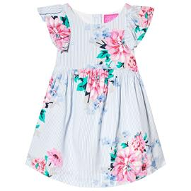 Blue and White Stripe Floral Print Dress1 year