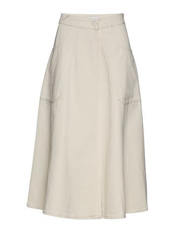 Calvin Klein Ecru Denim Wrap Skirt Kermanvärinen