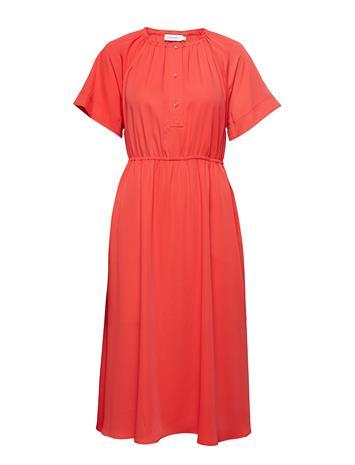 Calvin Klein Gathered Waist Dress Ss Punainen