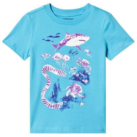 Blue Shark Print Sun Reactive Tee2-3 years