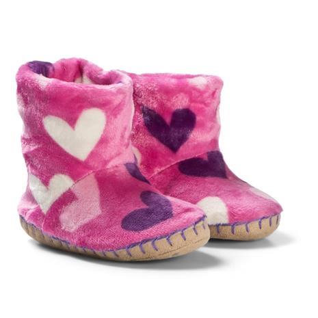 Pink Multi Hearts Fleece TohvelitXL (UK 1-2)