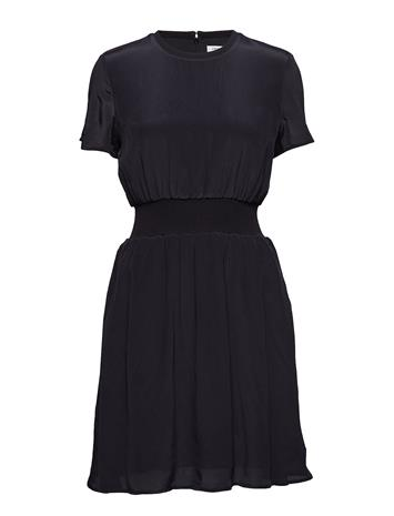 Calvin Klein Jeans Faux Silk Fit And Flare Dress Musta