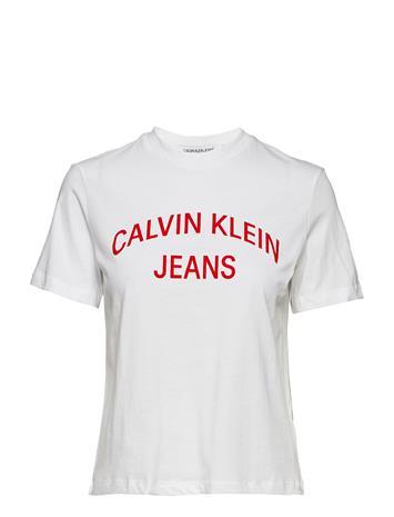 Calvin Klein Jeans Inst. Curved Logo Straight Tee Valkoinen