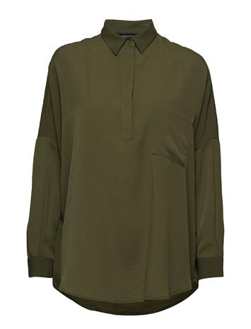 French Connection Crepe Light Solid Pop Over Shirt Vihreä