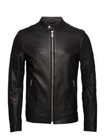 JUNK de LUXE Mix Panel Leather Jacket Musta