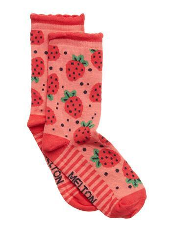 Melton Sock - Strawberry W/Bubble Edge Punainen