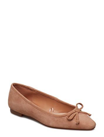 Mango Bow Leather Ballerina Vaaleanpunainen
